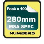 28cm (280mm) Race Numbers MSA SPEC - 100 pack